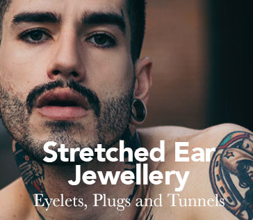 Young man with stretched ears