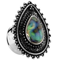 Steel and Brass Abalone Beaded Teardrop Plug image
