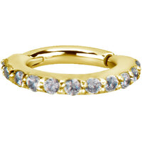 Bright Gold Swarovski Jewelled Hinged Segment Ring image
