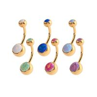 Bright Gold Double Jewelled Synthetic Opal Navel image