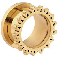 Bright Gold PVD Ornate Sun Threaded Tunnel image