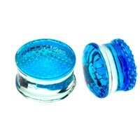 Blue Honey Comb Double Flared Glass Plugs image