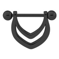 Black Steel V Nipple Shield Barbell image