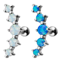 Steel Prong Set Opal Barbell image