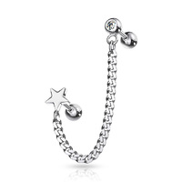 Steel Jewelled Barbell with Chain Linked Star Symbol image