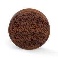 Custom Laser Engraved Saba Wood Plug - 'Flower of Life' image