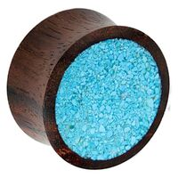 Sono Wood Plug with Crushed Synthetic Turquoise Inlay image