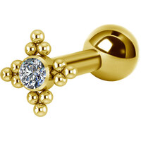 Titanium Bright Gold Internally Threaded Micro Barbell Jewelled Cluster Star : 1.2mm (16ga) x 6mm Clear Crystal image