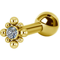 Titanium Bright Gold Internally Threaded Micro Barbell Jewelled Cluster Diamond : 1.2mm (16ga) x 6mm Clear Crystal image