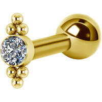 Titanium Bright Gold Internally Threaded Micro Barbell Jewelled Cluster Double : 1.2mm (16ga) x 6mm Clear Crystal image