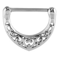Steel Filigree Heart Nipple Clicker image
