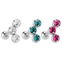 Stainless Steel Triple Disc Jewelled Barbell image