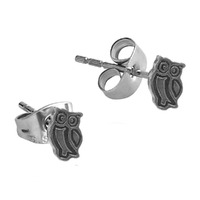 Pair of Surgical Steel Ear Studs - Owl : Owl image