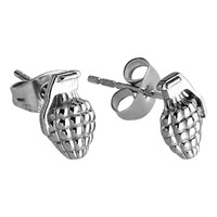 Pair of Surgical Steel Ear Studs - Grenade : Grenade image