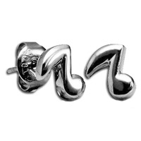 Pair of Surgical Steel Ear Studs - Music Note : Music Note image