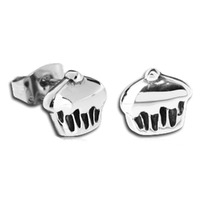 Pair of Surgical Steel Ear Studs - Cupcake : Cupcake image