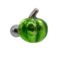 Enamel Cartilage Ear Barbell - Green Pumpkin : 1.2mm (16ga) x 6mm image