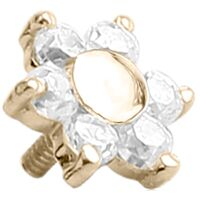 18ct Yellow Gold Internally Threaded Prong Set Jewelled Flower image