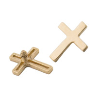 14Kt Yellow Gold Cross Internal Attachment : 1.6mm (14ga) - 1.2mm internal image