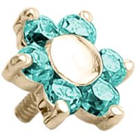 18k Yellow Gold Internally Threaded Prong Set Jewelled Flower : 14g (M1.2) x 5mm x Mint Green image