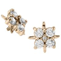 14k Yellow Gold Internally Threaded Jewelled Cluster : 16g (M0.9) image