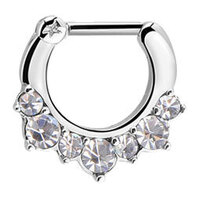 Surgical Steel Prong Set Jewelled Septum Clicker image