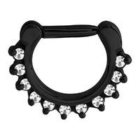 Black Steel Prong Set Jewelled Septum Clicker image
