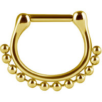 Bright Gold Septum Clicker Beaded Chain image