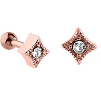 PVD Rose Gold Jewelled Rhombus Tragus Micro Barbell : 1.2mm (16ga) x 6mm image