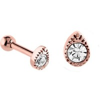 PVD Rose Gold Jewelled Tear Tragus Micro Barbell : 1.2mm (16ga) x 6mm image