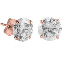 Rose Gold Prong Set Round 2.5mm Jewelled Ear Studs : Pair image