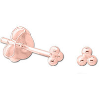 PVD Rose Gold Triple Ball Ear Studs : Pair image