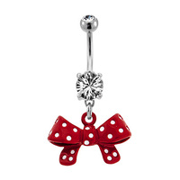 Fashion Navel - Red Bow : 1.6mm (14ga) x 10mm image