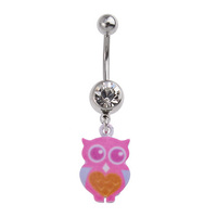 Pink Owl Charm Fashion Navel : 1.6mm (14ga) x 10mm x Clear Crystal image