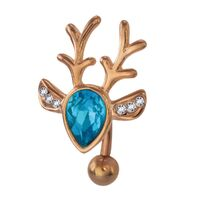 Rose Gold Plated Steel Jewelled Deer Top Drop Fashion Navel : 1.6mm (14ga) x 10mm image