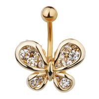 Gold Plated Steel Multi Jewelled Butterfly Fashion Navel : 1.6mm (14ga) x 10mm image