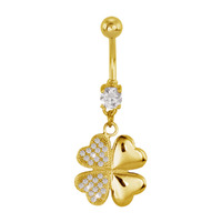 Gold Plated Steel Micro Jewelled Clover Fashion Navel : 1.6mm (14ga) x 10mm image