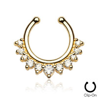 Fake Septum Clicker Multi Jewel Gold Plated image