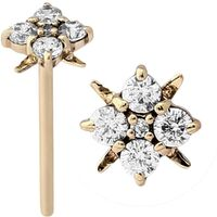 14k Gold Straight Jeweled Cluster Nose Stud : 18g (1.0mm) x 15mm image