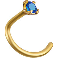 18ct Gold Claw Set Genuine Swarovski® Sapphire Nose Stud : 18ct Yellow Gold x 2mm Sapphire image