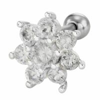 Surgical Steel Barbell with Jewelled Flower : 1.2mm (16ga) x 6mm image