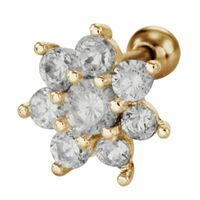 Gold PVD Steel Barbell with Jewelled Flower : 1.2mm (16ga) x 6mm image