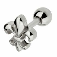 Surgical Steel Barbell with Fleur De Lis : 1.2mm (16ga) x 6mm image