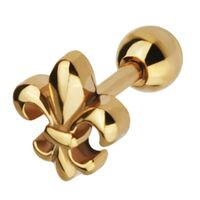 Gold PVD Steel Barbell with Fleur De Lis : 1.2mm (16ga) x 6mm image