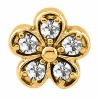Bright Gold Jewelled Industrial Barbell Charm : Clear Crystal image