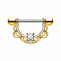 Gold Plated Filigree Nipple Ring image