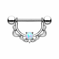 Synthetic Opal Filigree Nipple Ring image