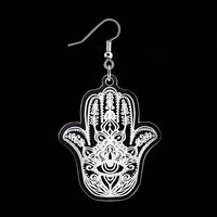 Laser Cut Dangle Earring - Hamsa Hand image