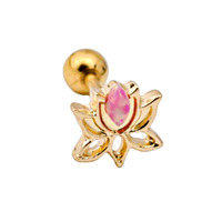 Gold Plated Lotus with Synthetic Opal Barbell image