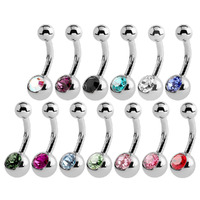 Mini Jewelled Navel Studs Faceted Crystal image